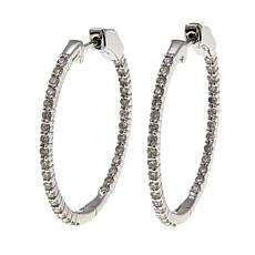 14K Gold 0.98ctw Diamond Hoop Earrings