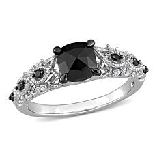 14K Gold 1.12ctw Black and White Diamond Infinity Engagement Ring
