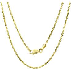 """14K Gold 1.5mm Rope Chain Necklace - 16"""""""