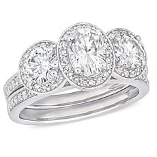 14K Gold 1.75ctw Moissanite and 0.41ctw Diamond Oval Center Ring Set