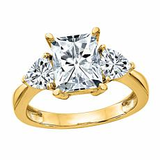 14K Gold 2.20ctw Moissanite Rectangular and Trillion Three-Stone Ring
