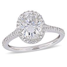 14K Gold 2ct Moissanite and 0.23ctw Diamond Halo-Design Oval Ring
