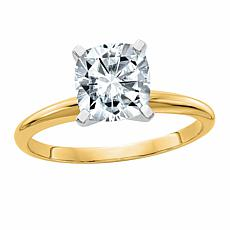 14K Gold 2ct Moissanite Cushion-Cut Solitaire Ring