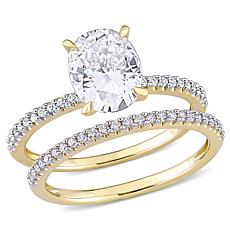 14K Gold 2ctw Moissanite and .23ctw Diamond Oval 2pc Bridal Ring Set
