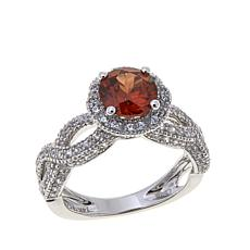 14K Gold 4.27ctw Copper-Colored and White Zircon  Ring