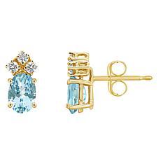 14K Gold 6x4mm Oval-Cut Aquamarine and 3-stone Diamond Stud Earrings