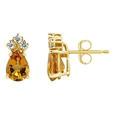 14K Gold 7x5mm Pear-Shaped Gemstone and 3-stone Diamond Stud Earrings