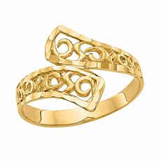 14K Gold Bypass Lace Diamond-Cut Ring