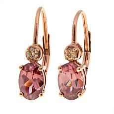 14K Gold Champagne Diamond & Pink Zircon Earrings