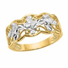 14K Gold Diamond-Cut Wave Ring