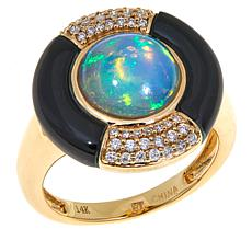 14K Gold Ethiopian Opal, Onyx and Diamond Button Ring