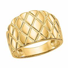 14K Gold Marquise Pattern Dome Ring