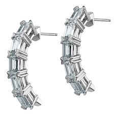 14K Gold Moissanite Emerald-Cut 5-Stone Earrings