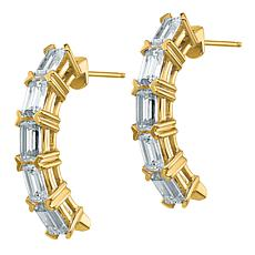 14K Gold Moissanite Emerald-Cut 5-Stone Earrings