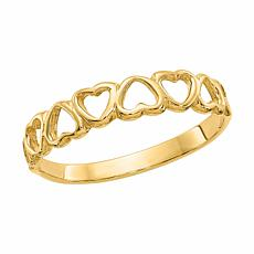 14K Gold Open Heart Band Ring