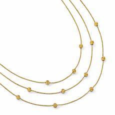 14K Gold Polished and Diamond-Cut 3-Strand Necklace
