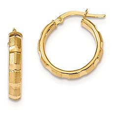 14K Gold Polished and Satin Finish Hoop Earrings