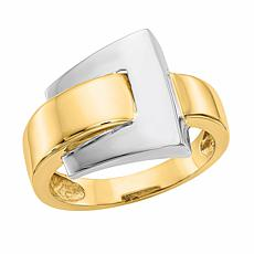 14K Gold Polished Buckle Ring