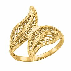 14K Gold Polished Filigree Bypass Ring