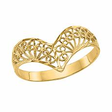 14K Gold Polished Filigree Chevron Ring