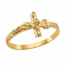 14K Gold Polished Jesus Cross Ring