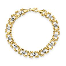 14K Gold Two-Tone Diamond-Cut Beaded Link Bracelet