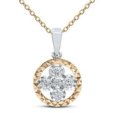 """14K Rose and White Gold Flower Pendant with 18"""" Cable Chain"""