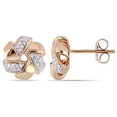 14K Rose Gold 0.16ctw Diamond Cluster Swirl Stud Earrings