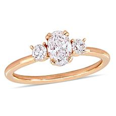 14K Rose Gold 0.97ctw Oval Diamond 3-Stone Engagement Ring