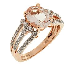 14K Rose Gold 2.27ctw Oval Morganite and Zircon Ring