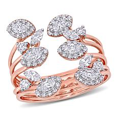 14K Rose Gold .85ctw Diamond Open Coil Flower Ring