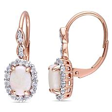 "14K Rose Gold Diamond Accent w/Opal and White Topaz ""Vintage"" Earrings"