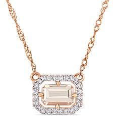 14K Rose Gold Diamond and Morganite Floating Halo Necklace