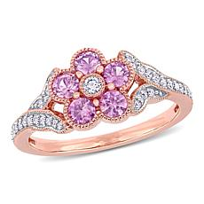14K Rose Gold Diamond and Pink Sapphire Flower Engagement Ring