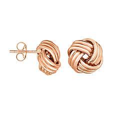 14K Rose Gold Round Love Knot Stud Earrings