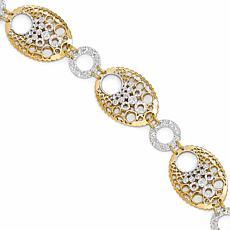14K Two-Tone Geometric Fancy Chain Bracelet