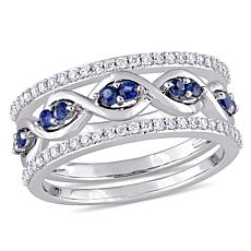 14K White Gold 0.54ctw Diamond and Blue Sapphire 3-piece Ring Set