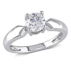 14K White Gold 0.5ct Moissanite Round Solitaire Ring