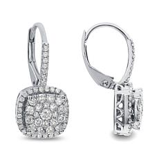14K White Gold 0.5ctw Diamond Lever Back Drop Earrings