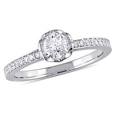 14K White Gold 0.62ctw Round Diamond Engagement Ring
