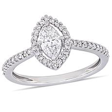 14K White Gold 0.72ctw Marquise Diamond Engagement Ring