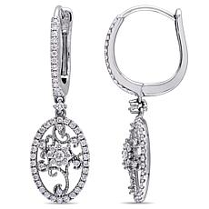 14K White Gold 0.91ctw Diamond Filigree Halo Leverback Earrings