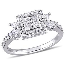 14K White Gold 0.94ctw Four-Square Diamond Ring