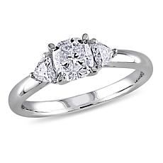 14K White Gold 0.95ctw 3-Stone Diamond Engagement Ring