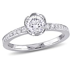 14K White Gold 0.97ctw Round Diamond Engagement Ring