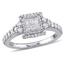 14K White Gold 0.99ctw Square Diamond Engagement Ring