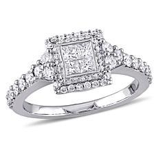 14K White Gold 0.99ctw Square Diamond Engagement Ring