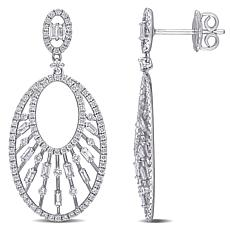 14K White Gold 1.30ctw Diamond Open Oval Dangle Earrings