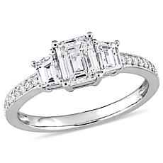 14K White Gold 1.6ctw Diamond Emerald-Cut Center Ring