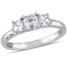 14K White Gold 1ctw 3-Stone Asscher-Cut Diamond Engagement Ring